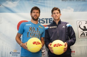 Jürgen Melzer (left) and Dominic Thiem during Vienna News conference in September