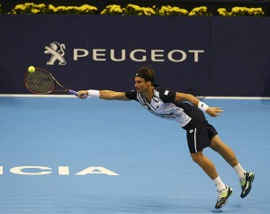 David Ferrer during his victory over Tomaz Bellucci