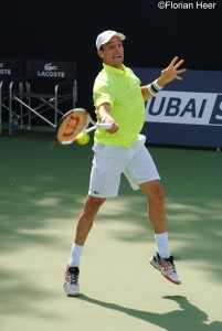 Roberto Bautista-Agut during his 1st round match in Dubai in 2014