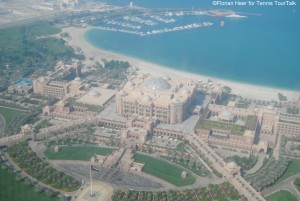 View from the Etihad Towers onto Emirates Palace