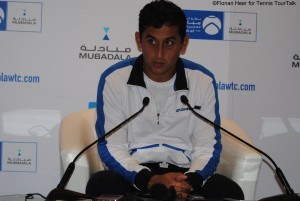 Nicolas Almagro talking to the media
