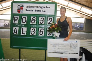 Antonia Lottner received a cheque with the prize money of US-$ 1568,-