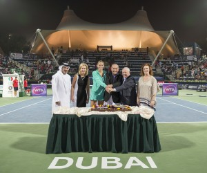 Micky Lawler, the newly appointed President of the WTA, flew in from the US to present a commemorative framed photograph of all the previous winners of the Championships to the tournament owners and organisers