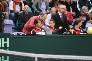 Tommy Haas, Philipp Kohlschreiber and Florian Mayer (from left) were not able to play the fifth rubber against Spain in January 2014