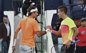 Roger Federer and Borna Coric (photo: DDFTennis)