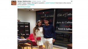 Stakhovsky's tweet after his victory in Dubai (source: @stako_tennis)