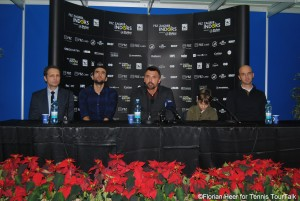 Goran Ivanisevic next to Marin Cilic at this year's Zagreb Indoors