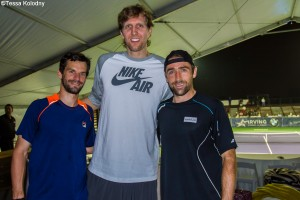 The two Germans met Dallas Mavericks star Dirk Nowitzki earlier the day