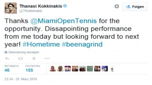 Kokkinakis tweet from Miami