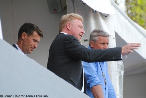 Boris Becker watched the all-German-affair on centre court