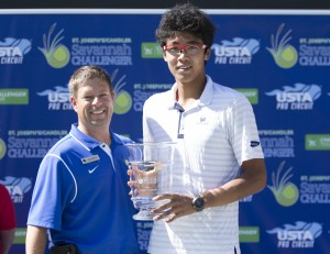 Hyeon Chung is the Savannah Challenger Champion 2015 (photo: Jacob Stuckey - SJ/C Savannah Challenger)