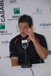 Lamine Ouahab spoke to the media after his match (photo: GP Hassan II)
