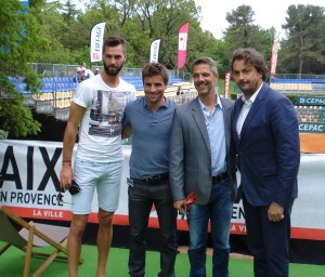 Arnaud Clement (second from leftI with Benoit Paire, Didier Marazzani and Henri Leconte (left to right)
