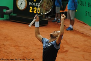 Joao Sousa after he capitalized on his match point