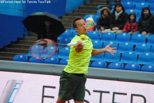 Philipp Kohlschreiber during one of the few rallies on Sunday