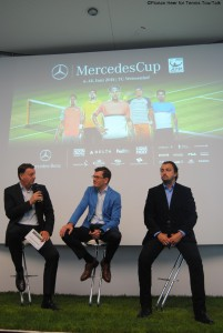 Press conference with tournament director Edwin Weindorfer, Jens Thiemer (vice president Marketing Mercedes-Benz cars) and Henri Leconte (from left to right)