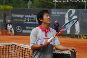 Yoshihito Nishioka had a short discussion with the umpire