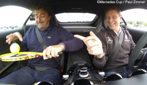 Henri Leconte and Bernd Mayländer were having fun on the racing circuit