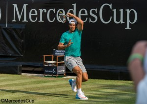 Rafael Nadal practiced on centre court on Sunday