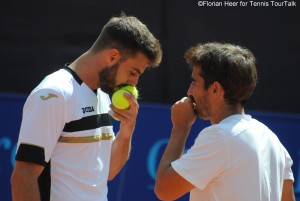 Marcel Granollers (here with Marc López) played singles and doubles in Gstaad this week
