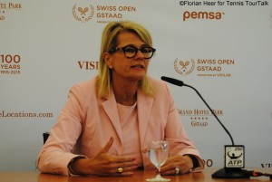 Ruth Wipfli-Steinegger during final news conference on Sunday morning