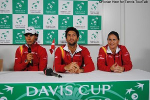 Nadal and Verdasco with captain Martinez in the press conference