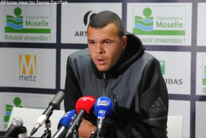 Jo-Wilfried Tsonga in Metz after winning his 12th ATP World Tour title