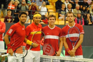 The doubles teams on Day 3 of the Davis Cup tie in Odense