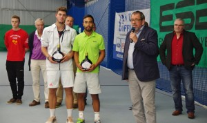 Maximilian Marterer and Marc Sieber together with tournament director Thomas Heil