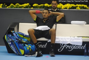 Nick Kyrgios enjoying the changeover