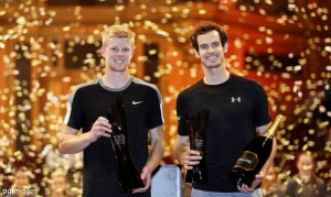British Davis Cup champions: Kyle Edmund and Andy Murray in the Tie Brak Tens' final