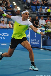 Rafael Nadal during his first match of the 2016 season