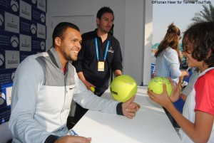 Jo-Wilfried Tsonga signing autographs at MWTC