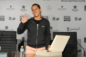 Dominika Cibulkova received a birthday cake after her press conference