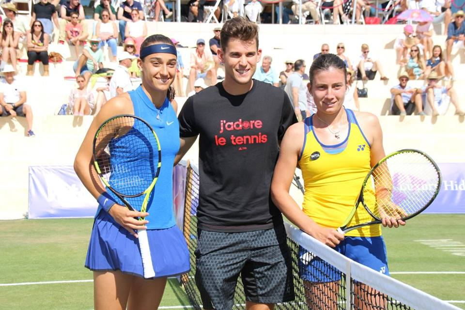 special guest dominic thiem with the two finalists photo wta mallorca open
